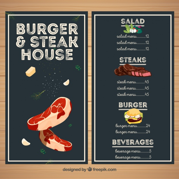 Menu steakhouse